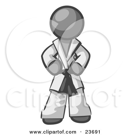 Clipart Illustration of a Tough Gray Man In A White Karate Suit And A Black Belt, Standing With His Hands On His Hips by Leo Blanchette
