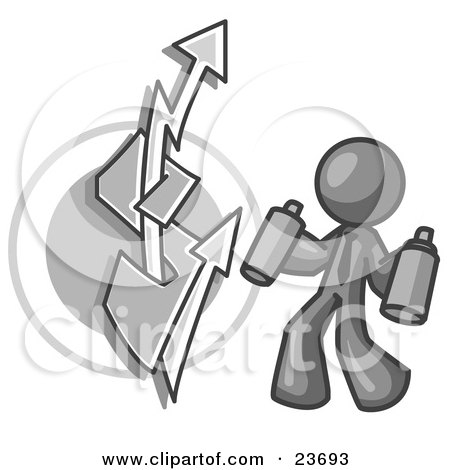 Clipart Illustration of a Gray Business Man Spray Painting a Graffiti Dollar Sign on a Wall by Leo Blanchette