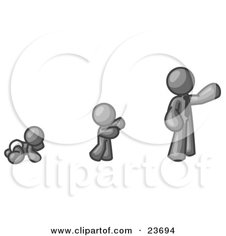 Clipart Illustration of a Gray Man in His Growth Stages of Life, as a Baby, Child and Adult by Leo Blanchette
