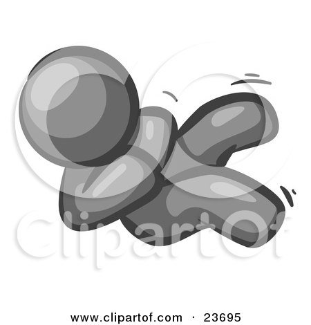 Clipart Illustration of a Happy Gray Man Rolling On The Floor And Giggling With Laughter by Leo Blanchette