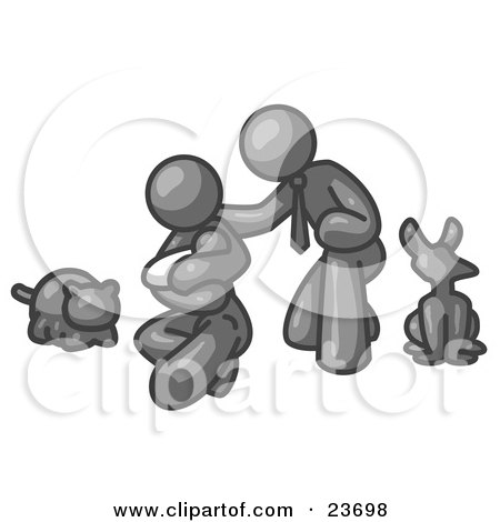 Clipart Illustration of a Gray Family, Father, Mother And Newborn Baby With Their Dog And Cat by Leo Blanchette