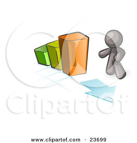 Clipart Illustration of a Gray Man Standing By An Increasing Green, Yellow And Orange Bar Graph On A Grid Background With An Arrow by Leo Blanchette