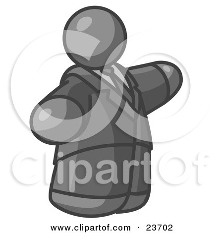 Clipart Illustration of a Big Gray Business Man in a Suit and Tie by Leo Blanchette