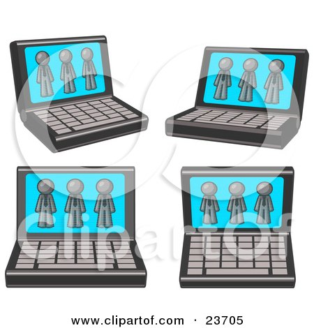 Clipart Illustration of Four Laptop Computers With Three Gray Men on Each Screen by Leo Blanchette
