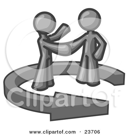 Clipart Illustration of a Gray Salesman Shaking Hands With a Client While Making a Deal by Leo Blanchette