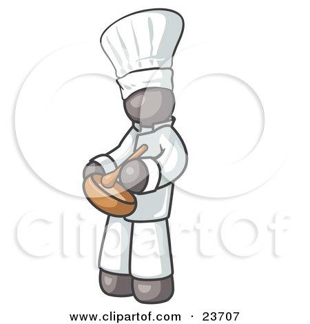Clipart Illustration of a Gray Baker Chef Cook in Uniform and Chef's Hat, Stirring Ingredients in a Bowl by Leo Blanchette