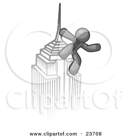 Clipart Illustration of a Gray Man Climbing to the Top of a Skyscraper Tower Like King Kong, Success, Achievement by Leo Blanchette