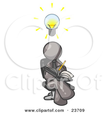Clipart Illustration of a Smart Gray Man Seated With His Legs Crossed, Brainstorming and Writing Ideas Down in a Notebook, Lightbulb Over His Head by Leo Blanchette
