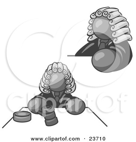 Clipart Illustration of a Gray Judge Man Wearing a Wig in Court by Leo Blanchette