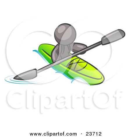 Clipart Illustration of a Gray Man Paddling Down A River In A Green Kayak by Leo Blanchette