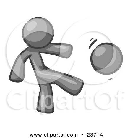 Clipart Illustration of a Gray Man Kicking A Ball Really Hard While Playing A Game by Leo Blanchette
