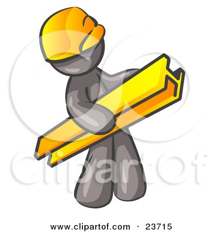 Clipart Illustration of a Gray Man Construction Worker Wearing A Hardhat And Carrying A Beam At A Work Site by Leo Blanchette