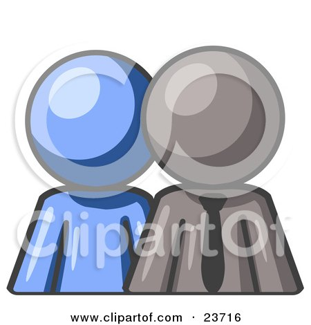Clipart Illustration of a Blue Person Standing Beside A Gray Businessman, Symbolizing Teamwork Or Mentoring by Leo Blanchette