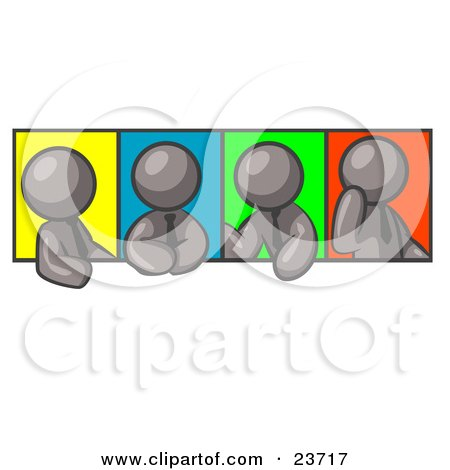 Clipart Illustration of Four Gray Men In Different Poses Against Colorful Backgrounds, Perhaps During A Meeting by Leo Blanchette