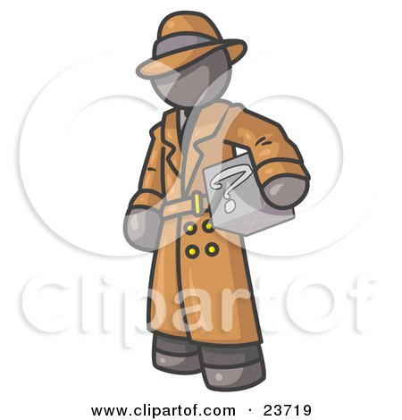 Clipart Illustration of a Secretive Gray Man in a Trench Coat and Hat, Carrying a Box With a Question Mark on it by Leo Blanchette