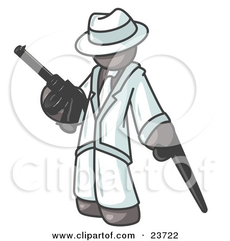 Clipart Illustration of a Gray Gangster Man Carrying a Gun and Leaning on a Cane by Leo Blanchette