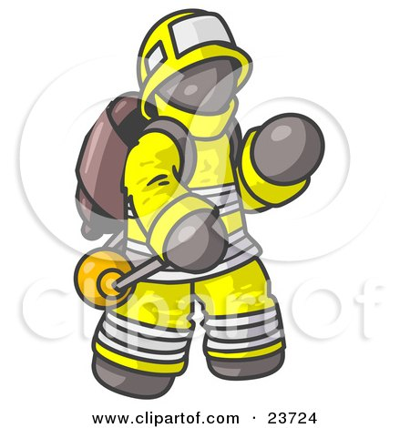 Clipart Illustration of a Gray Fireman in a Uniform, Fighting a Fire by Leo Blanchette