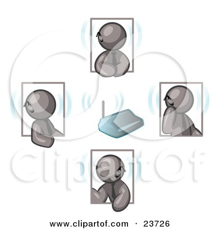 Clipart Illustration of a Group of Four Gray Men Holding A Phone Meeting And Wearing Wireless Bluetooth Headsets by Leo Blanchette