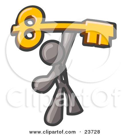 Clipart Illustration of a Gray Businessman Holding A Large Golden Skeleton Key, Symbolizing Success by Leo Blanchette