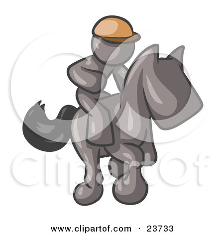 Clipart Illustration of a Gray Man, A Jockey, Riding On A Race Horse And Racing In A Derby by Leo Blanchette