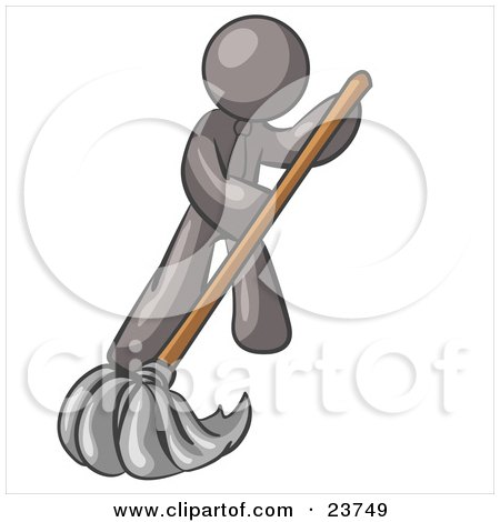 Clipart Illustration of a Gray Man Wearing A Tie, Using A Mop While Mopping A Hard Floor To Clean Up A Mess Or Spill by Leo Blanchette
