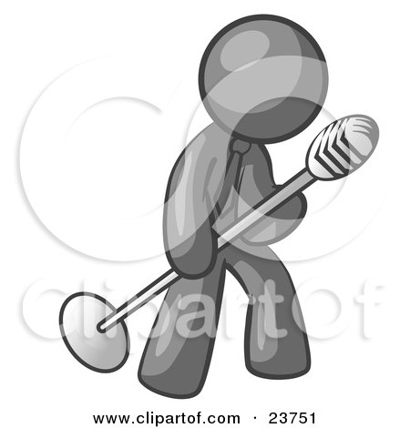 Clipart Illustration of a Gray Man In A Tie, Singing Songs On Stage During A Concert Or At A Karaoke Bar While Tipping The Microphone by Leo Blanchette