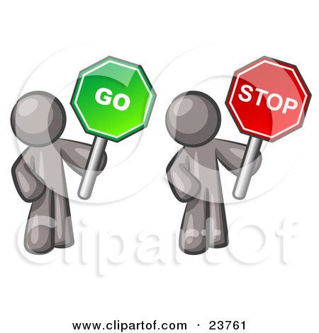 Clipart Illustration of Gray Men Holding Red And Green Stop And Go Signs by Leo Blanchette