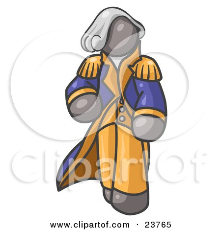 Clipart Illustration of a Gray George Washington Character by Leo Blanchette