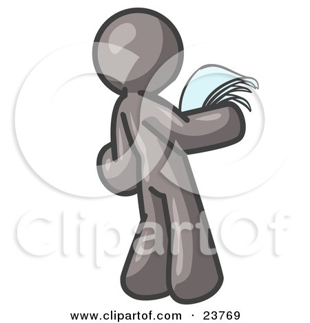 Clipart Illustration of a Serious Gray Man Reading Papers and Documents by Leo Blanchette