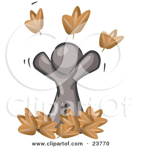 Clipart Illustration of a Carefree Gray Man Tossing Up Autumn Leaves In The Air, Symbolizing Happiness And Freedom by Leo Blanchette