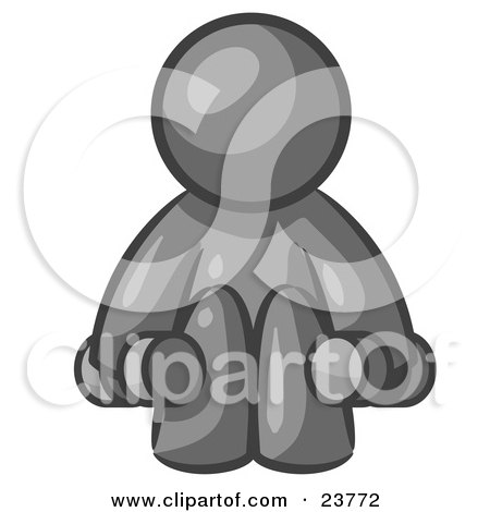 Clipart Illustration of a Gray Man Lifting Dumbells While Strength Training by Leo Blanchette