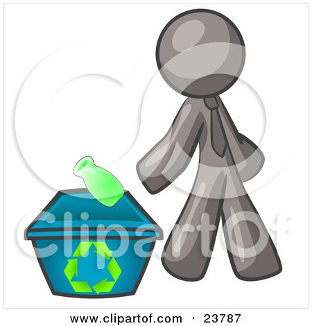 Clipart Illustration of a Gray Man Tossing A Plastic Container Into A Recycle Bin, Symbolizing Someone Doing Their Part To Help The Environment And To Be Earth Friendly by Leo Blanchette