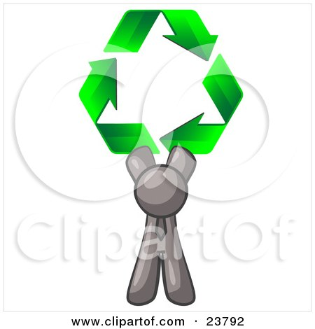 Clipart Illustration of a Gray Man Holding Up Three Green Arrows Forming A Triangle And Moving In A Clockwise Motion, Symbolizing Renewable Energy And Recycling by Leo Blanchette