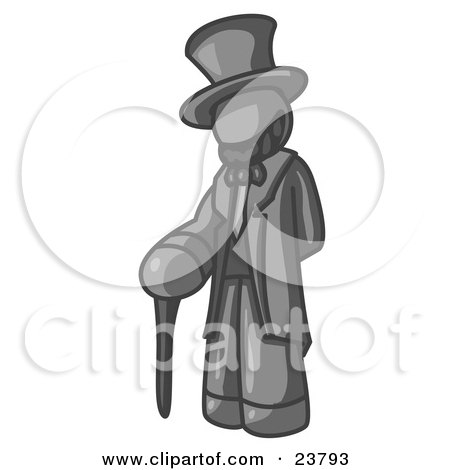 Clipart Illustration of a Gray Man Depicting Abraham Lincoln With a Cane by Leo Blanchette