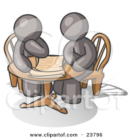 Clipart Illustration of Two Gray Businessmen Sitting at a Table, Discussing Papers by Leo Blanchette