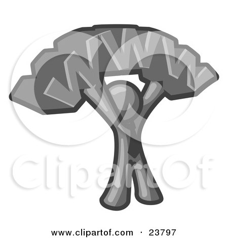 Clipart Illustration of a Proud Gray Business Man Holding WWW Over His Head  by Leo Blanchette