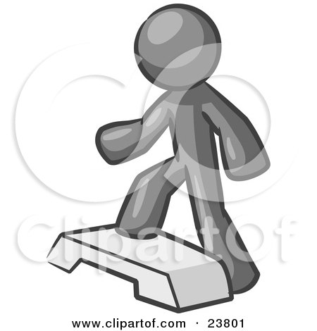 Clipart Illustration of a Gray Man Doing Step Ups On An Aerobics Platform While Exercising by Leo Blanchette