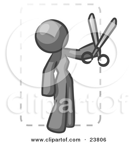 Clipart Illustration of a Gray Lady Character Snipping Out A Coupon With A Pair Of Scissors Before Going Shopping by Leo Blanchette
