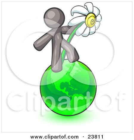 Clipart Illustration of a Gray Man Standing On The Green Planet Earth And Holding A White Daisy, Symbolizing Organics And Going Green For A Healthy Environment by Leo Blanchette