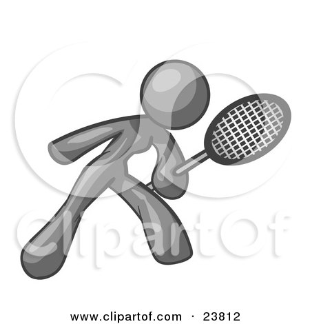 Clipart Illustration of a Gray Woman Preparing To Hit A Tennis Ball With A Racquet by Leo Blanchette