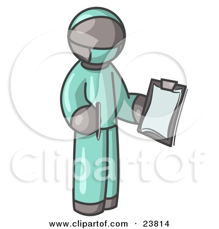 Clipart Illustration of a Gray Surgeon Man in Green Scrubs, Holding a Pen and Clipboard by Leo Blanchette