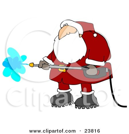 Clipart Illustration of Santa Claus In A Red And White Suit And Boots, Operating A Pressure Washer by djart