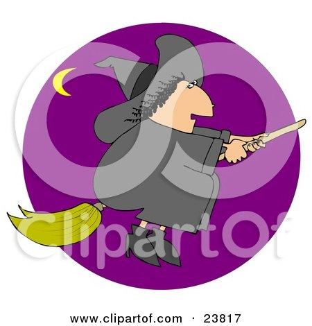 Clipart Illustration of a Chubby Black Haired Warty Female Witch Flying In A Purple Sky On Her Broomstick On Halloween, A Crescent Moon In The Distance by djart