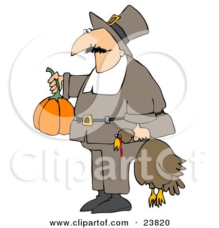 Clipart Illustration of a Male Pilgrim In Brown, Carrying A Pumpkin And A Dead Turkey Bird To A Thanksgiving Feast by djart