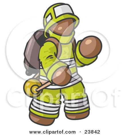 Clipart Illustration of a Brown Fireman in a Uniform, Fighting a Fire by Leo Blanchette
