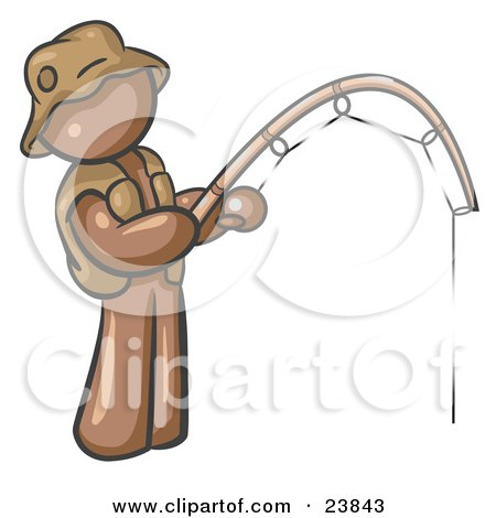 Clipart Illustration of a Brown Man Wearing A Hat And Vest And Holding A Fishing Pole by Leo Blanchette