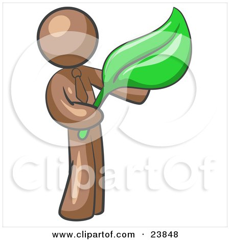 Clipart Illustration of a Brown Man Holding A Green Leaf, Symbolizing Gardening, Landscaping Or Organic Products by Leo Blanchette