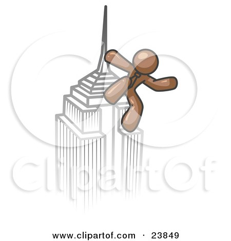 Clipart Illustration of a Brown Man Climbing to the Top of a Skyscraper Tower Like King Kong, Success, Achievement by Leo Blanchette