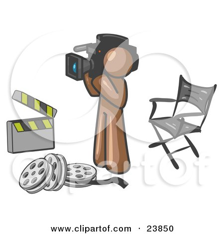 Clipart Illustration of a Brown Man Filming a Movie Scene With a Video Camera in a Studio by Leo Blanchette