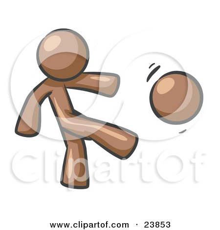 Clipart Illustration of a Brown Man Kicking A Ball Really Hard While Playing A Game by Leo Blanchette